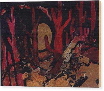 Saguaro Sonata Wood Print by Elaine Elliott