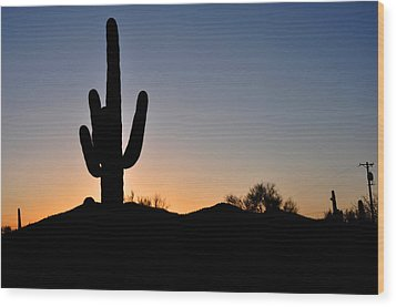 Wood Print featuring the photograph Saguaro Sunset by Diane Lent