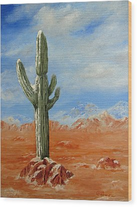 Saguaro In Snow Wood Print by Roseann Gilmore