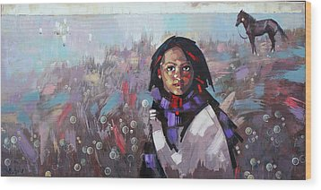 Wood Print featuring the painting Sail  by Anastasija Kraineva