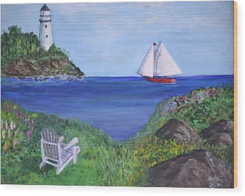 Wood Print featuring the painting Lighthouse View by Debbie Baker