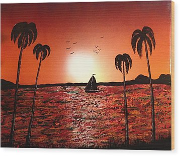 Wood Print featuring the painting Sail Away by Michael Rucker