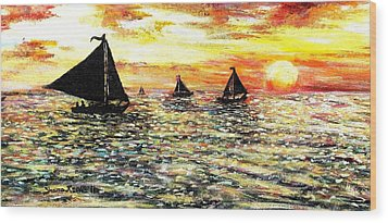 Wood Print featuring the painting Sail Away With Me by Shana Rowe Jackson