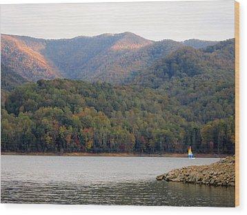 Sail Boat And Mountains Wood Print
