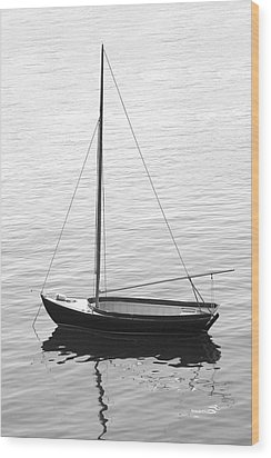 Sail Boat In Maine Wood Print by Mike McGlothlen