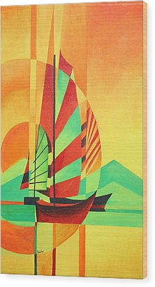 Wood Print featuring the painting Sail To Shore by Tracey Harrington-Simpson