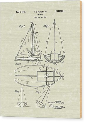Sailboat 1948 Patent Art Wood Print by Prior Art Design