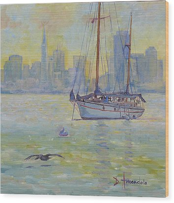 Sailboat Anchored At Sunset Wood Print by Dominique Amendola