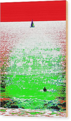 Sailboat And Swimmer -- 2a Wood Print by Brian D Meredith