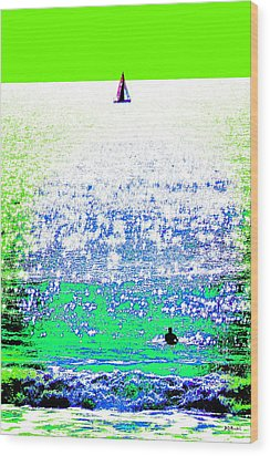 Sailboat And Swimmer -- 2b Wood Print by Brian D Meredith