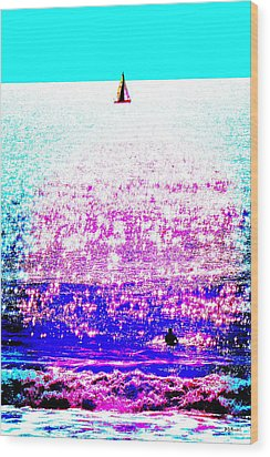 Sailboat And Swimmer -- 2d Wood Print by Brian D Meredith
