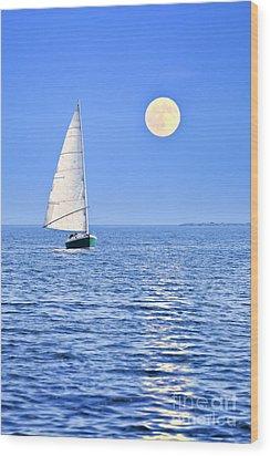 Sailboat At Full Moon Wood Print by Elena Elisseeva