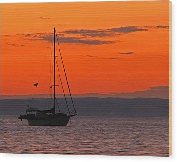 Sailboat At Sunset Wood Print
