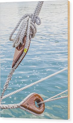 Wood Print featuring the photograph Sailboat Deadeyes 1 by Leigh Anne Meeks