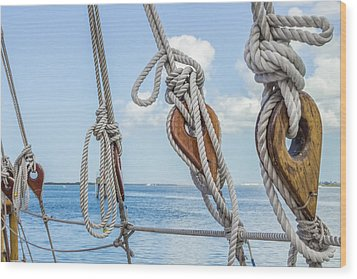 Wood Print featuring the photograph Sailboat Deadeyes 2 by Leigh Anne Meeks