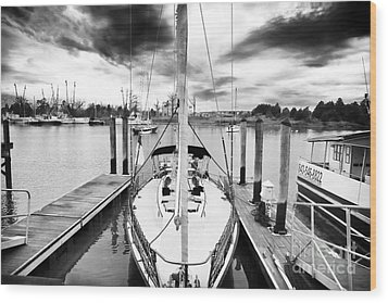 Sailboat Docked Wood Print by John Rizzuto