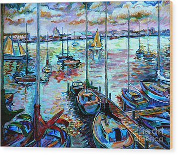Sailboat Harbor Wood Print by Stan Esson