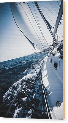 Sailboat In Action Wood Print