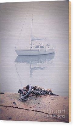 Sailboat In Fog Wood Print by Jill Battaglia