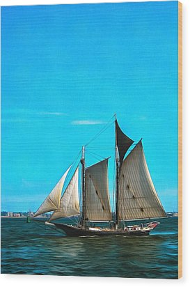 Sailboat In The Bay Wood Print