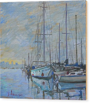 Sailboat In The Evening Fog Wood Print by Dominique Amendola