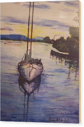 Sailboat In The Mangroves Of Costa Rica Wood Print by Ronald Ataide