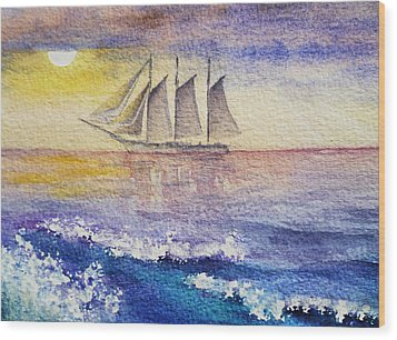 Sailboat In The Ocean Wood Print by Irina Sztukowski