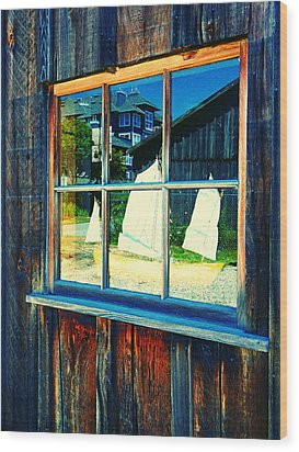 Sailboat In Window 2 Wood Print by Laurie Tsemak
