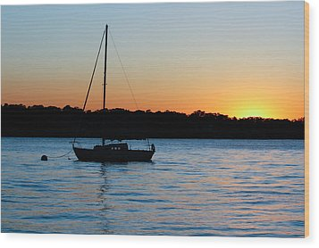 Wood Print featuring the photograph Sailboat Moored At Sunset by Ann Murphy