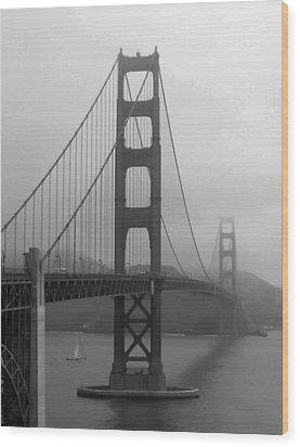 Sailboat Passing Under Golden Gate Bridge Wood Print by Connie Fox