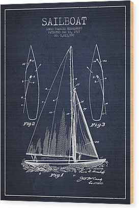 Sailboat Patent Drawing From 1927 Wood Print by Aged Pixel