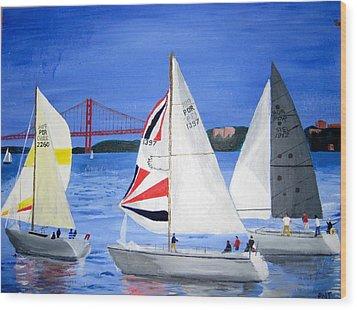 Sailboat Race In Lisbon Wood Print