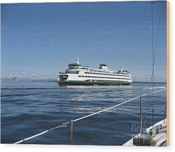 Sailboat Sees Ferryboat Wood Print by Kym Backland