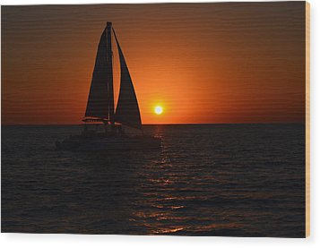 Sailboat Sunset Wood Print by James Petersen