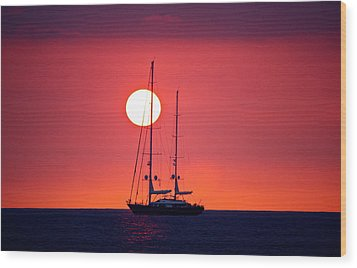 Sailboat Sunset Wood Print by Venetia Featherstone-Witty