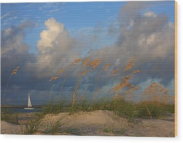 Sailboat Wrightsville Beach North Carolina  Wood Print by Mountains to the Sea Photo