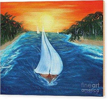 Sailboats 2 Wood Print by Oksana Semenchenko
