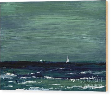 Sailboats Across A Rough Surf Ventura Wood Print by Cathy Peterson