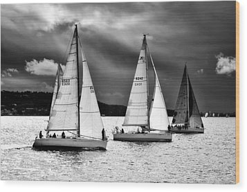 Sailboats And Storms Wood Print by Photography  By Sai