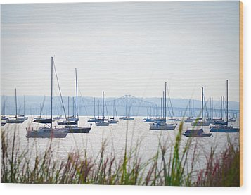 Sailboats At Rest Wood Print by Bill Cannon