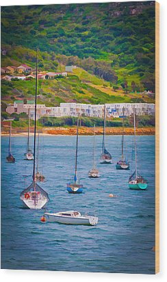 Sailboats At Simons Town Wood Print by Cliff C Morris Jr