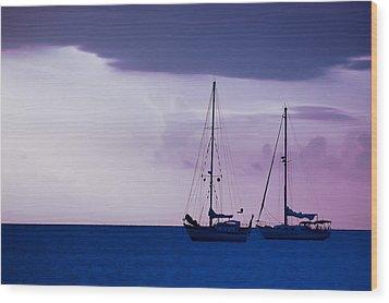 Sailboats At Sunset Wood Print by Don Schwartz