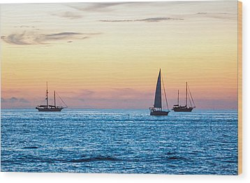 Sailboats At Sunset Off Key West Florida Wood Print