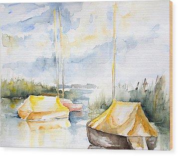 Sailboats Awakening Wood Print by Barbara Pommerenke