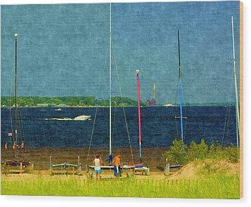 Sailboats Beached Wood Print by Rosemarie E Seppala