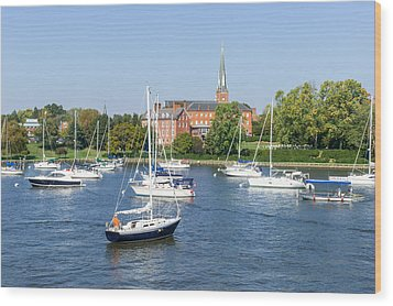 Wood Print featuring the photograph Sailboats By Charles Carroll House by Charles Kraus