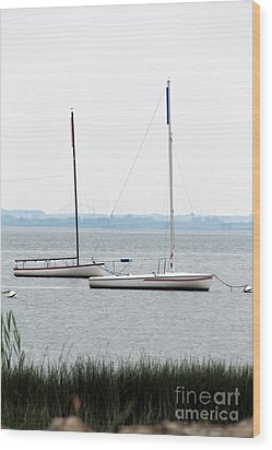 Sailboats In Battery Park Harbor Wood Print