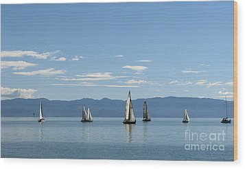 Wood Print featuring the photograph Sailboats In Blue by Jola Martysz