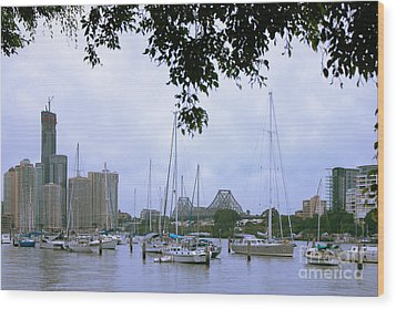 Wood Print featuring the photograph Sailboats In Brisbane Australia by Jola Martysz