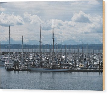 Sailboats In Seattle Wood Print by Steven Parker